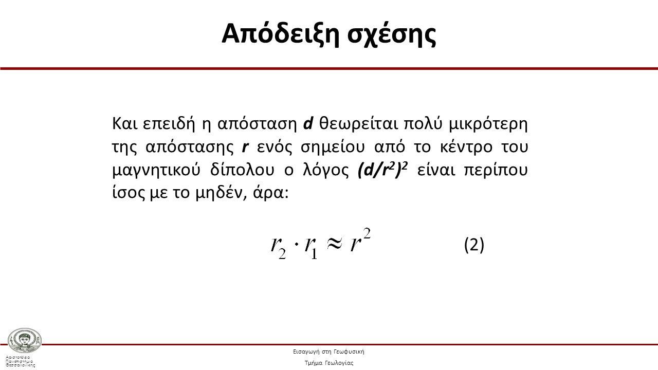 Αριστοτέλειο Πανεπιστήμιο Θεσσαλονίκης Εισαγωγή στη Γεωφυσική Τμήμα Γεωλογίας Και επειδή η απόσταση d θεωρείται πολύ μικρότερη της απόστασης r ενός ση