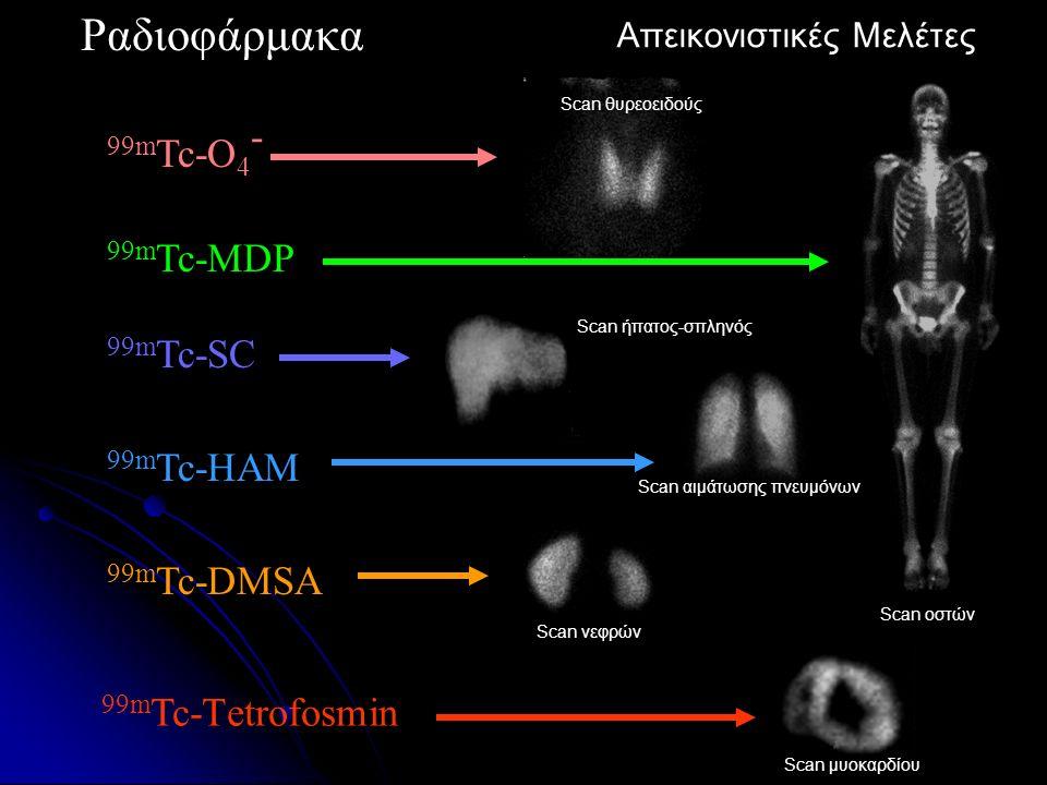 Ραδιοφάρμακα 99m Tc-MDP 99m Tc-SC 99m Tc-O 4 - 99m Tc-HAM 99m Tc-DMSA 99m Tc-Τetrofosmin Απεικονιστική Μελέτη Απεικονιστικές Μελέτες Scan θυρεοειδούς Scan οστών Scan ήπατος-σπληνός Scan αιμάτωσης πνευμόνων Scan νεφρών Scan μυοκαρδίου