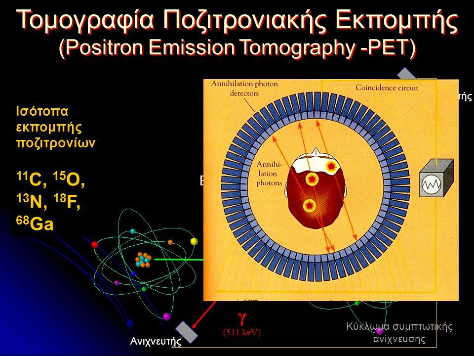 Τομογραφία Ποζιτρονιακής Εκπομπής (Positron Emission Tomography -PET) Τομογραφία Ποζιτρονιακής Εκπομπής (Positron Emission Tomography -PET) γ (511 keV) γ (511 keV) β+β+ e-e- 1-2 mm 180 0 β+ + e-β+ + e- Εξαϋλωση 11 C, 15 O, 13 N, 18 F, 68 Ga Ισότοπα εκπομπής ποζιτρονίων E=mc 2 Ανιχνευτής Κύκλωμα συμπτωτικής ανίχνευσης