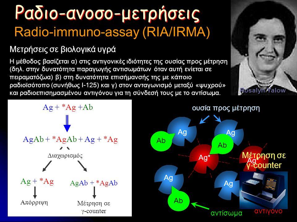 Ag + *Ag +Ab AgAb + *AgAb + Ag + *Ag Ag + *Ag AgAb + *AgAb Απόρριψη Μέτρηση σε γ-counter Διαχωρισμός Ραδιο-ανοσο-μετρήσεις Radio-immuno-assay (RIA/IRMA) Rosalyn Yalow Ag ουσία προς μέτρηση Ag* Ραδιενεργό αντιγόνο Ab αντίσωμα Η μέθοδος βασίζεται α) στις αντιγονικές ιδιότητες της ουσίας προς μέτρηση (δηλ.