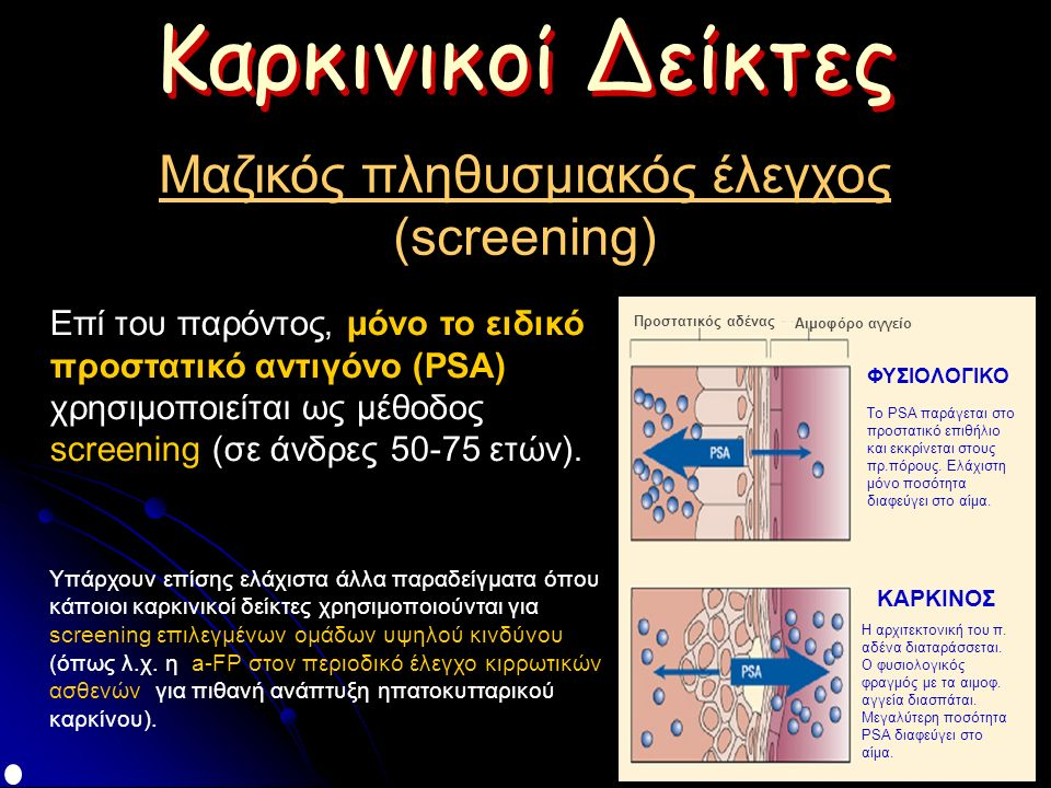 Καρκινικοί Δείκτες Μαζικός πληθυσμιακός έλεγχος (screening) Επί του παρόντος, μόνο το ειδικό προστατικό αντιγόνο (PSA) χρησιμοποιείται ως μέθοδος screening (σε άνδρες 50-75 ετών).