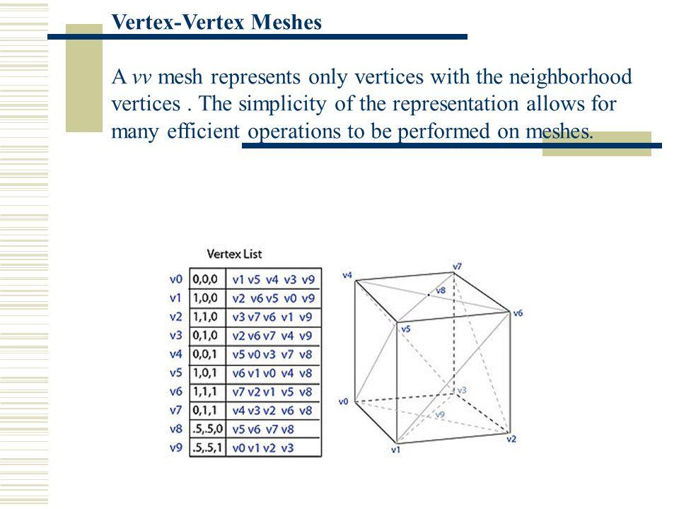 Vertex-Vertex Meshes A vv mesh represents only vertices with the neighborhood vertices. The simplicity of the representation allows for many efficient