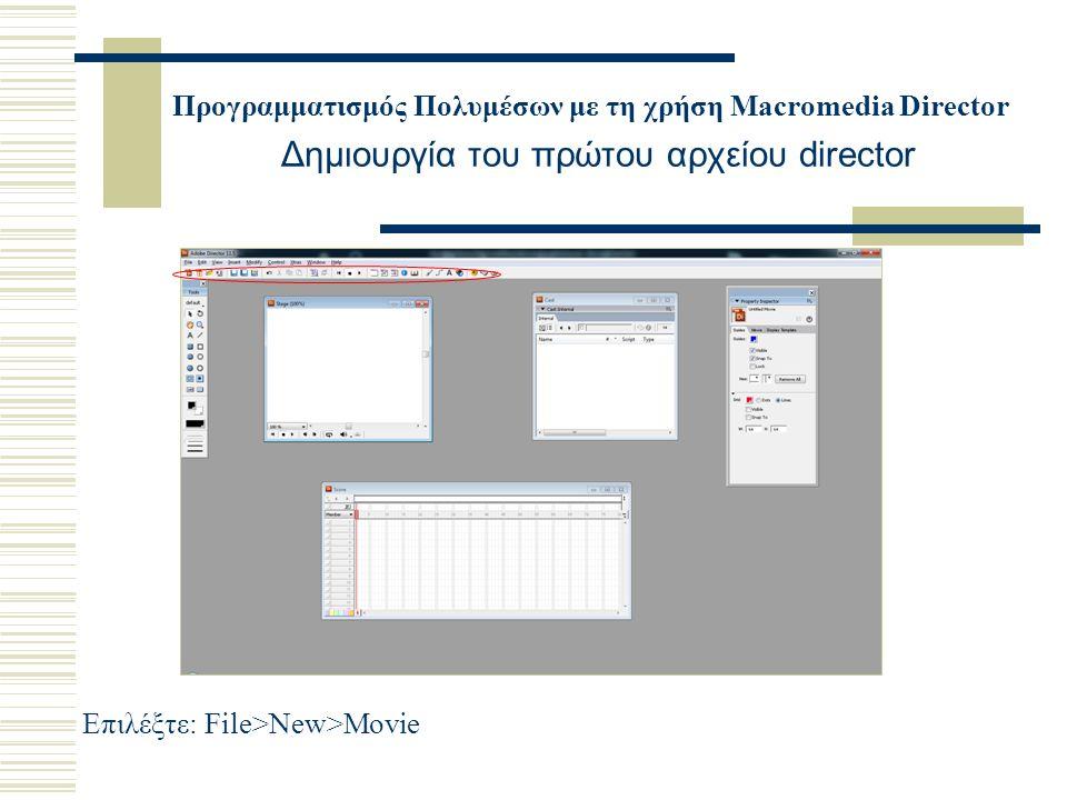 Προγραμματισμός Πολυμέσων με τη χρήση Macromedia Director Δημιουργία του πρώτου αρχείου director Επιλέξτε: File>New>Movie