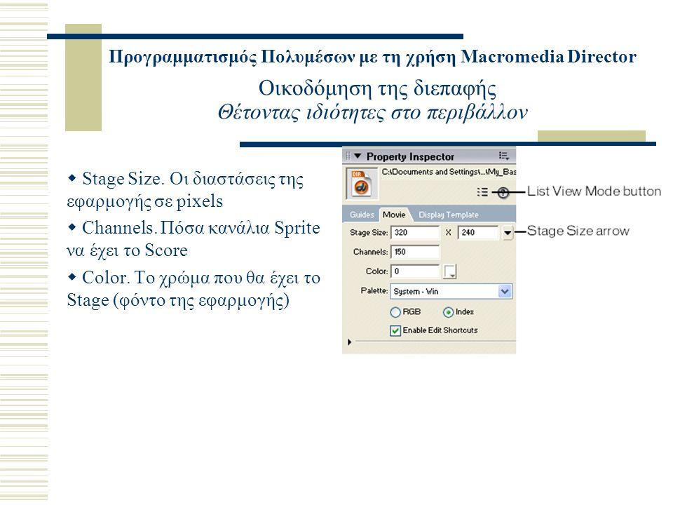 Προγραμματισμός Πολυμέσων με τη χρήση Macromedia Director Οικοδόμηση της διεπαφής Θέτοντας ιδιότητες στο περιβάλλον  Stage Size. Οι διαστάσεις της εφ