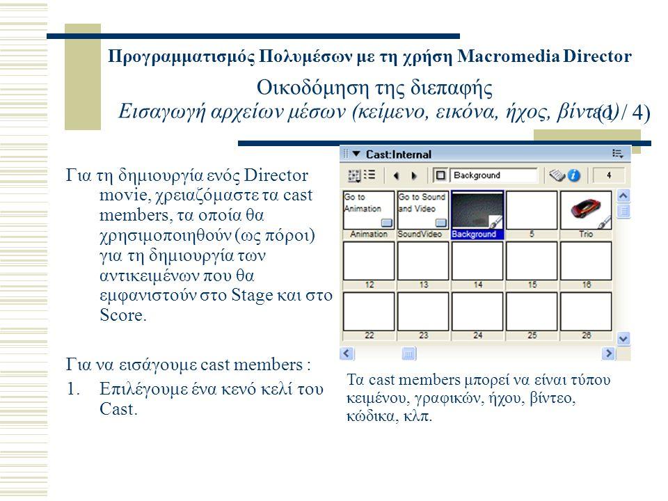 Προγραμματισμός Πολυμέσων με τη χρήση Macromedia Director Οικοδόμηση της διεπαφής Εισαγωγή αρχείων μέσων (κείμενο, εικόνα, ήχος, βίντεο) Για τη δημιουργία ενός Director movie, χρειαζόμαστε τα cast members, τα οποία θα χρησιμοποιηθούν (ως πόροι) για τη δημιουργία των αντικειμένων που θα εμφανιστούν στο Stage και στο Score.