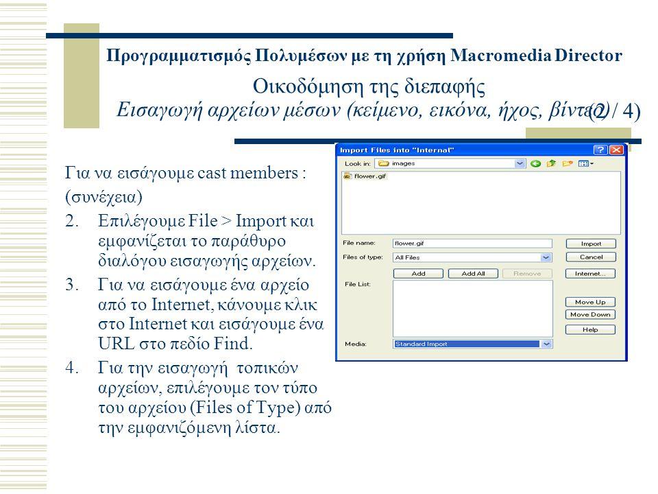 Προγραμματισμός Πολυμέσων με τη χρήση Macromedia Director Οικοδόμηση της διεπαφής Εισαγωγή αρχείων μέσων (κείμενο, εικόνα, ήχος, βίντεο) Για να εισάγουμε cast members : (συνέχεια) 2.Επιλέγουμε File > Import και εμφανίζεται το παράθυρο διαλόγου εισαγωγής αρχείων.