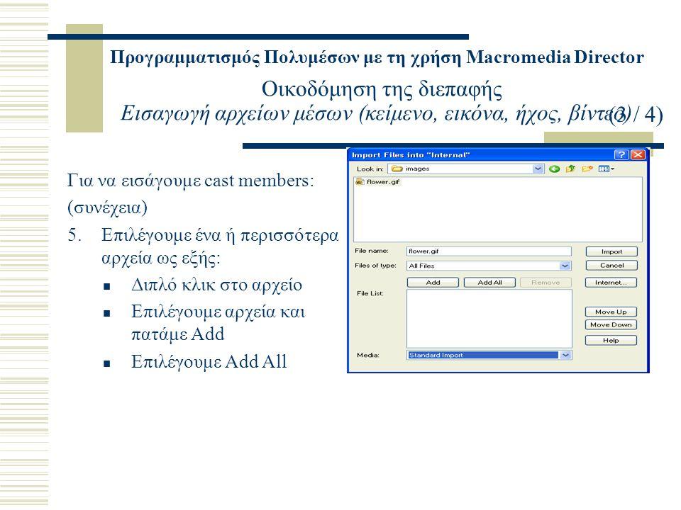 Προγραμματισμός Πολυμέσων με τη χρήση Macromedia Director Οικοδόμηση της διεπαφής Εισαγωγή αρχείων μέσων (κείμενο, εικόνα, ήχος, βίντεο) Για να εισάγουμε cast members: (συνέχεια) 5.Επιλέγουμε ένα ή περισσότερα αρχεία ως εξής: Διπλό κλικ στο αρχείο Επιλέγουμε αρχεία και πατάμε Add Επιλέγουμε Add All (3 / 4)