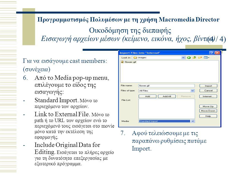 Προγραμματισμός Πολυμέσων με τη χρήση Macromedia Director Οικοδόμηση της διεπαφής Εισαγωγή αρχείων μέσων (κείμενο, εικόνα, ήχος, βίντεο) Για να εισάγουμε cast members: (συνέχεια) 6.Από το Media pop-up menu, επιλέγουμε το είδος της εισαγωγής: -Standard Import.