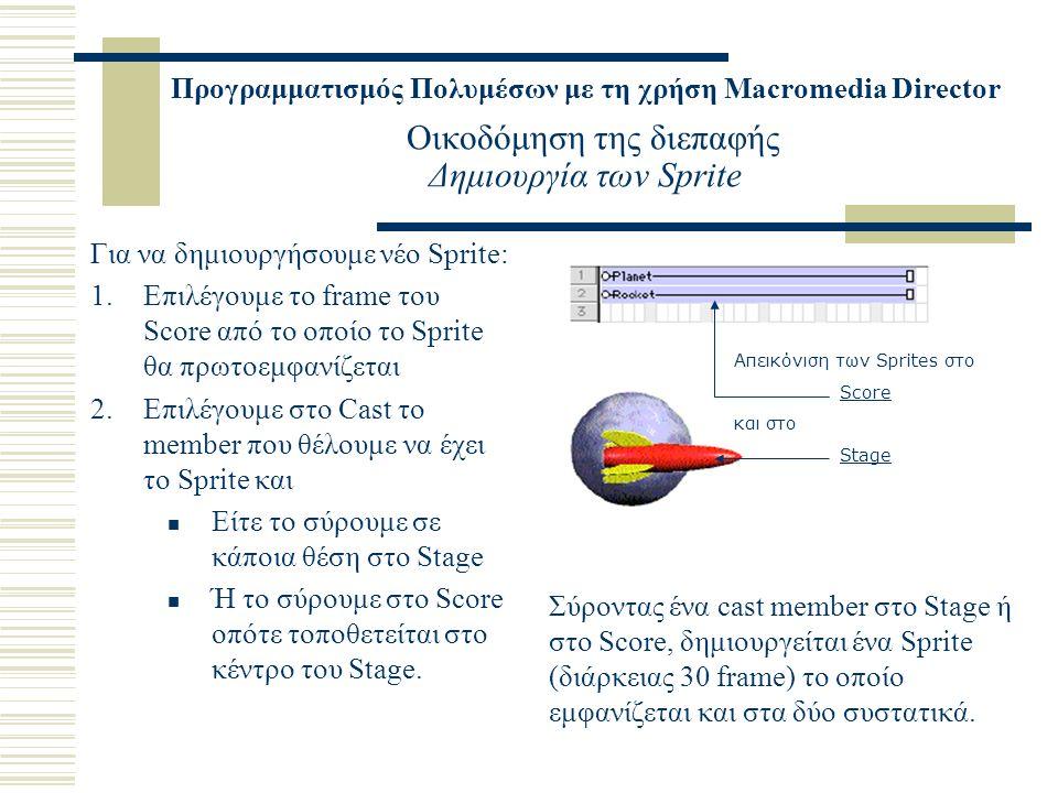 Προγραμματισμός Πολυμέσων με τη χρήση Macromedia Director Οικοδόμηση της διεπαφής Δημιουργία των Sprite Για να δημιουργήσουμε νέο Sprite: 1.Επιλέγουμε το frame του Score από το οποίο το Sprite θα πρωτοεμφανίζεται 2.Επιλέγουμε στο Cast το member που θέλουμε να έχει το Sprite και Είτε το σύρουμε σε κάποια θέση στο Stage Ή το σύρουμε στο Score οπότε τοποθετείται στο κέντρο του Stage.