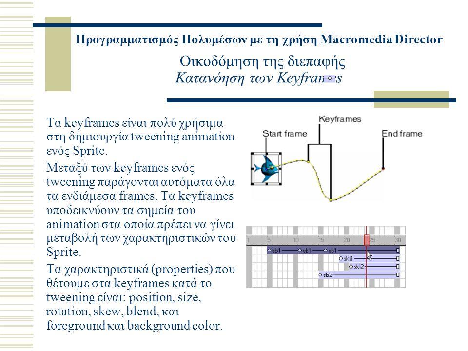 Προγραμματισμός Πολυμέσων με τη χρήση Macromedia Director Οικοδόμηση της διεπαφής Κατανόηση των Keyframes Τα keyframes είναι πολύ χρήσιμα στη δημιουργία tweening animation ενός Sprite.