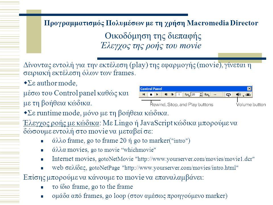Προγραμματισμός Πολυμέσων με τη χρήση Macromedia Director Οικοδόμηση της διεπαφής Έλεγχος της ροής του movie Δίνοντας εντολή για την εκτέλεση (play) της εφαρμογής (movie), γίνεται η σειριακή εκτέλεση όλων των frames.