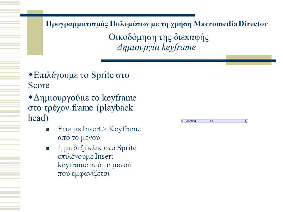 Προγραμματισμός Πολυμέσων με τη χρήση Macromedia Director Οικοδόμηση της διεπαφής Δημιουργία keyframe  Επιλέγουμε το Sprite στο Score  Δημιουργούμε το keyframe στο τρέχον frame (playback head) Είτε με Insert > Keyframe από το μενού ή με δεξί κλικ στο Sprite επιλέγουμε Insert keyframe από το μενού που εμφανίζεται