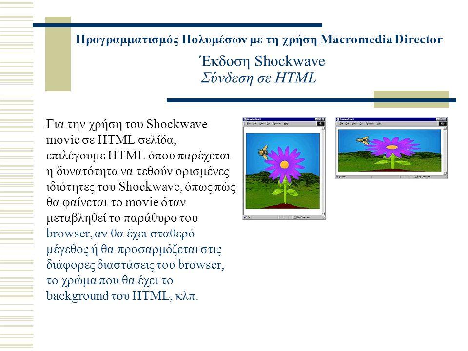 Προγραμματισμός Πολυμέσων με τη χρήση Macromedia Director Έκδοση Shockwave Σύνδεση σε HTML Για την χρήση του Shockwave movie σε HTML σελίδα, επιλέγουμε HTML όπου παρέχεται η δυνατότητα να τεθούν ορισμένες ιδιότητες του Shockwave, όπως πώς θα φαίνεται το movie όταν μεταβληθεί το παράθυρο του browser, αν θα έχει σταθερό μέγεθος ή θα προσαρμόζεται στις διάφορες διαστάσεις του browser, το χρώμα που θα έχει το background του HTML, κλπ.