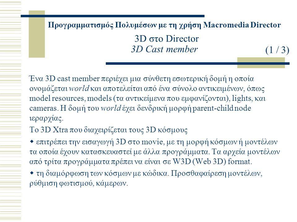 Προγραμματισμός Πολυμέσων με τη χρήση Macromedia Director 3D στο Director 3D Cast member Ένα 3D cast member περιέχει μια σύνθετη εσωτερική δομή η οποία ονομάζεται world και αποτελείται από ένα σύνολο αντικειμένων, όπως model resources, models (τα αντικείμενα που εμφανίζονται), lights, και cameras.
