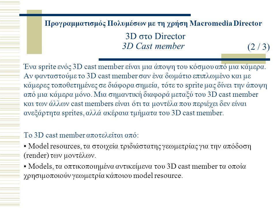 Προγραμματισμός Πολυμέσων με τη χρήση Macromedia Director 3D στο Director 3D Cast member Ένα sprite ενός 3D cast member είναι μια άποψη του κόσμου από μια κάμερα.
