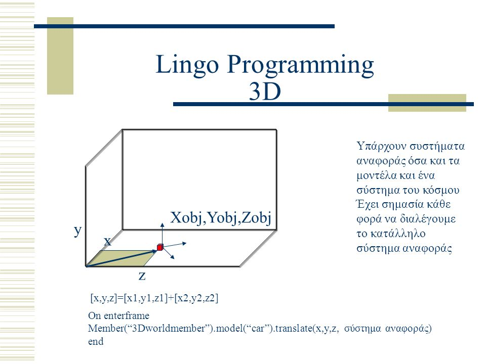 "Lingo Programming 3D x z y [x,y,z]=[x1,y1,z1]+[x2,y2,z2] On enterframe Member(""3Dworldmember"").model(""car"").translate(x,y,z, σύστημα αναφοράς) end Xob"