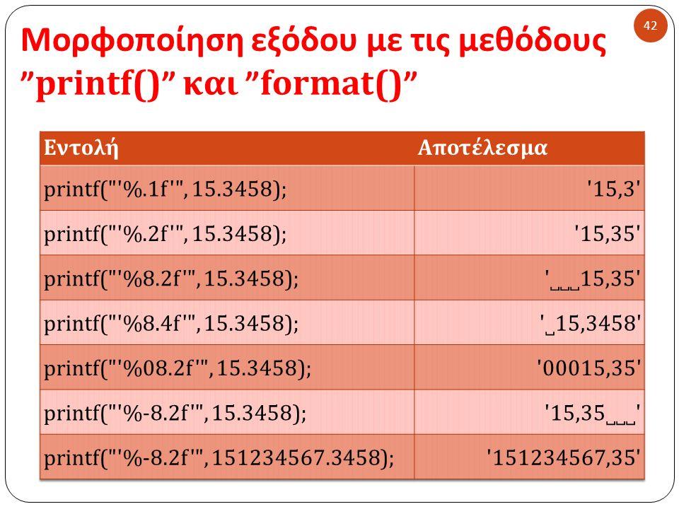 Μορφοποίηση εξόδου με τις μεθόδους printf() και format() 42
