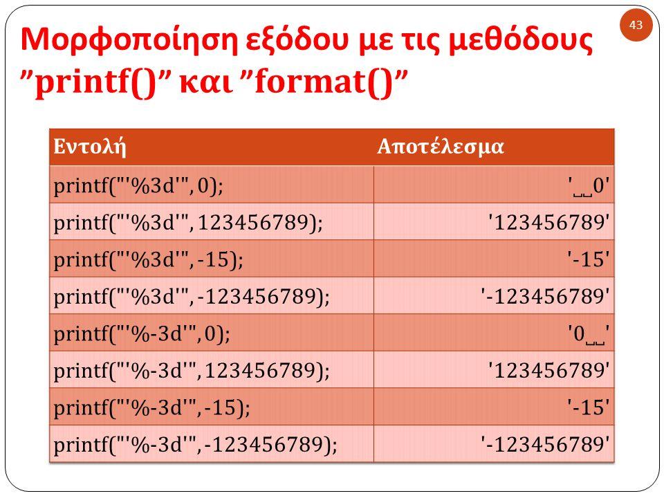 Μορφοποίηση εξόδου με τις μεθόδους printf() και format() 43