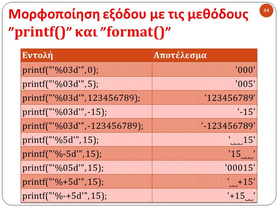 Μορφοποίηση εξόδου με τις μεθόδους printf() και format() 44