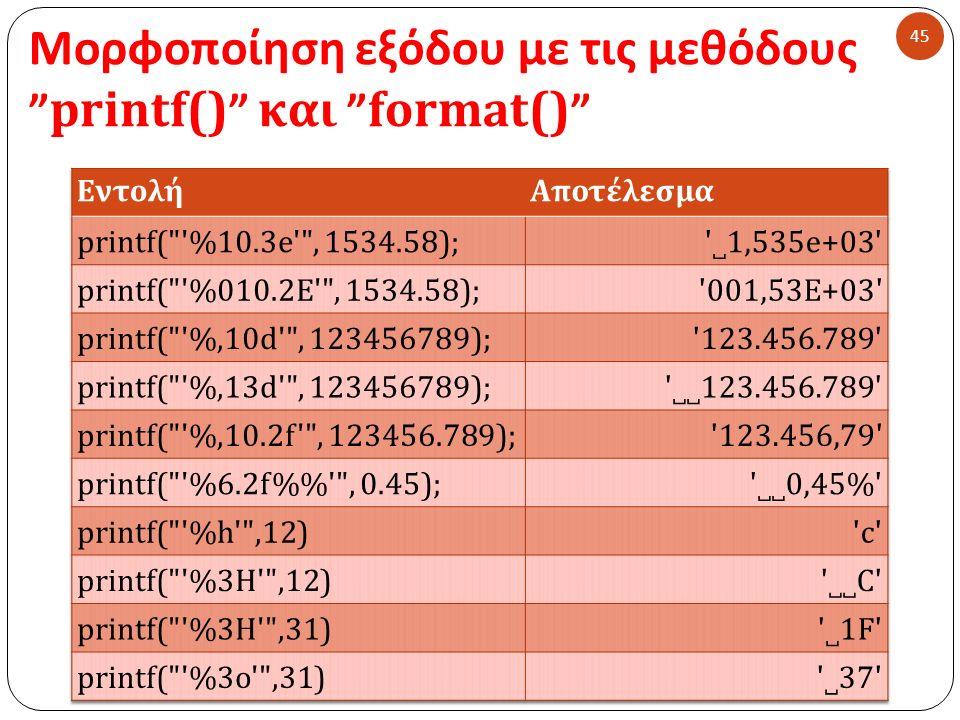 Μορφοποίηση εξόδου με τις μεθόδους printf() και format() 45