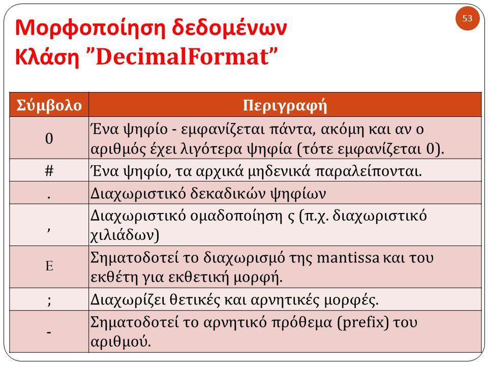 Μορφοποίηση δεδομένων Κλάση DecimalFormat 53 ΣύμβολοΠεριγραφή 0 Ένα ψηφίο - εμφανίζεται πάντα, ακόμη και αν ο αριθμός έχει λιγότερα ψηφία (τότε εμφανίζεται 0).