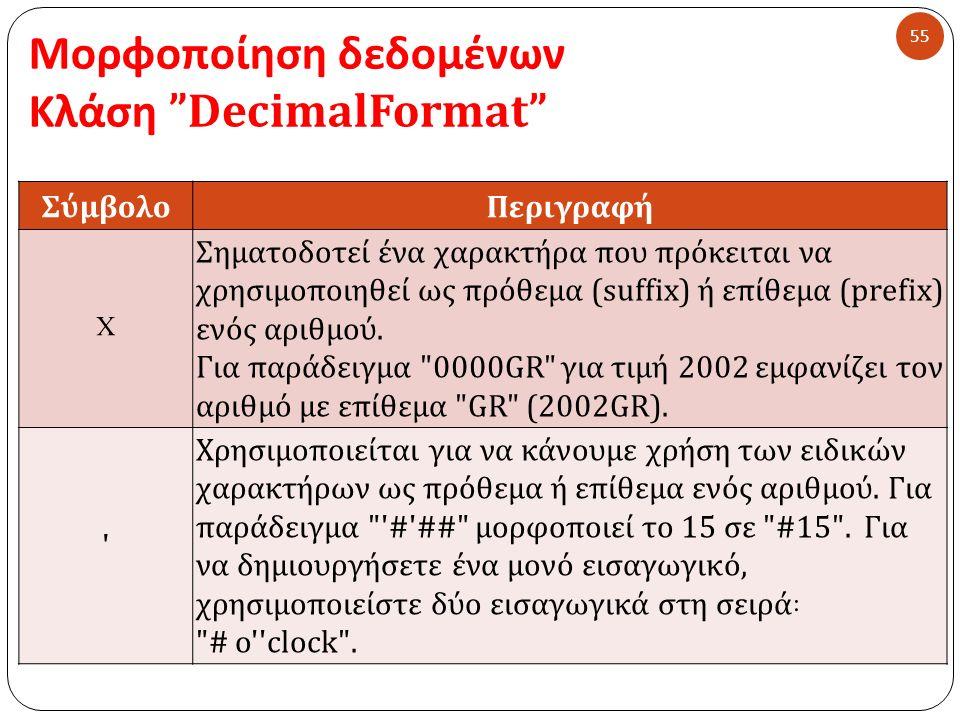 Μορφοποίηση δεδομένων Κλάση DecimalFormat 55 ΣύμβολοΠεριγραφή X Σηματοδοτεί ένα χαρακτήρα που πρόκειται να χρησιμοποιηθεί ως πρόθεμα (suffix) ή επίθεμα (prefix) ενός αριθμού.