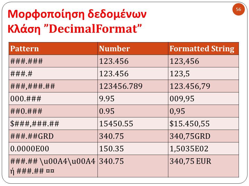 Μορφοποίηση δεδομένων Κλάση DecimalFormat 56 PatternNumberFormatted String ###.###123.456123,456 ###.#123.456123,5 ###,###.##123456.789123.456,79 000.###9.95009,95 ##0.###0.950,95 $###,###.##15450.55$15.450,55 ###.##GRD340.75340,75GRD 0.0000E00150.351,5035Ε02 ###.## \u00A4\u00A4 ή ###.## ¤¤ 340.75340,75 EUR