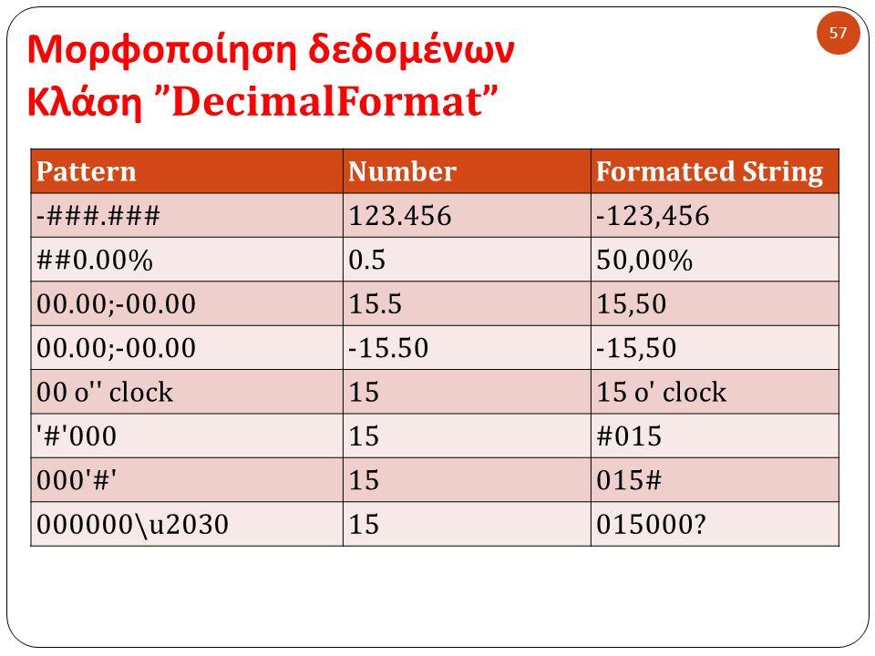 Μορφοποίηση δεδομένων Κλάση DecimalFormat 57 PatternNumberFormatted String -###.###123.456-123,456 ##0.00%0.550,00% 00.00;-00.0015.515,50 00.00;-00.00-15.50-15,50 00 o clock1515 o clock # 00015#015 000 # 15015# 000000\u203015015000?