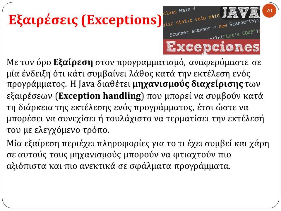 Εξαιρέσεις (Exceptions) 70 Με τον όρο Εξαίρεση στον προγραμματισμό, αναφερόμαστε σε μία ένδειξη ότι κάτι συμβαίνει λάθος κατά την εκτέλεση ενός προγρά