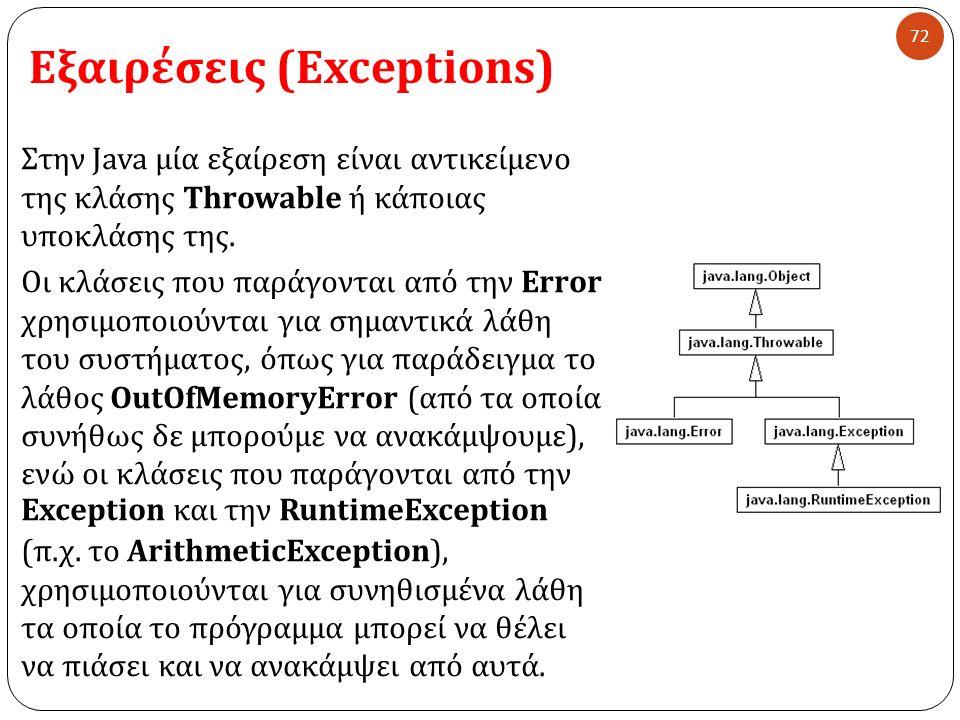 Εξαιρέσεις (Exceptions) 72 Στην Java μία εξαίρεση είναι αντικείμενο της κλάσης Throwable ή κάποιας υποκλάσης της. Οι κλάσεις που παράγονται από την Er