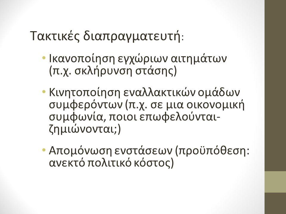 Τακτικές διαπραγματευτή : Ικανοποίηση εγχώριων αιτημάτων (π.χ.