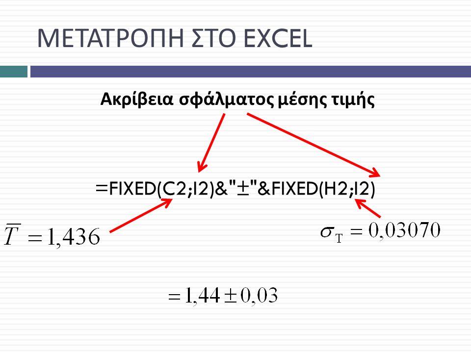 ΜΕΤΑΤΡΟΠΗ ΣΤΟ EXCEL =FIXED(C2;I2)& ± &FIXED(H2;I2) Ακρίβεια σφάλματος μέσης τιμής