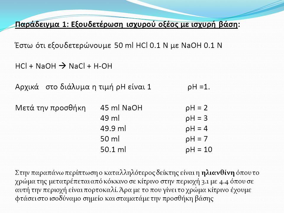 Παράδειγμα 1: Εξουδετέρωση ισχυρού οξέος με ισχυρή βάση: Έστω ότι εξουδετερώνουμε 50 ml HCl 0.1 Ν με ΝaΟΗ 0.1 Ν HCl + NaOH  NaCl + H-OH Αρχικά στο διάλυμα η τιμή ρΗ είναι 1 ρΗ =1.