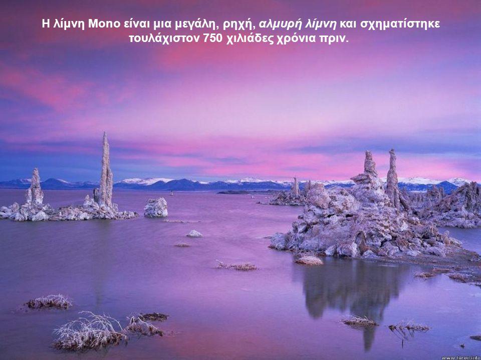 Η λίμνη Mono είναι μια μεγάλη, ρηχή, αλμυρή λίμνη και σχηματίστηκε τουλάχιστον 750 χιλιάδες χρόνια πριν.