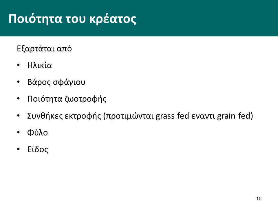 10 Ποιότητα του κρέατος Εξαρτάται από Ηλικία Βάρος σφάγιου Ποιότητα ζωοτροφής Συνθήκες εκτροφής (προτιμώνται grass fed εναντι grain fed) Φύλο Είδος