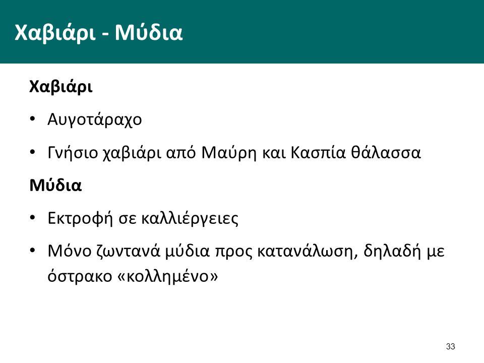 33 Χαβιάρι - Μύδια Χαβιάρι Αυγοτάραχο Γνήσιο χαβιάρι από Μαύρη και Κασπία θάλασσα Μύδια Εκτροφή σε καλλιέργειες Μόνο ζωντανά μύδια προς κατανάλωση, δηλαδή με όστρακο «κολλημένο»