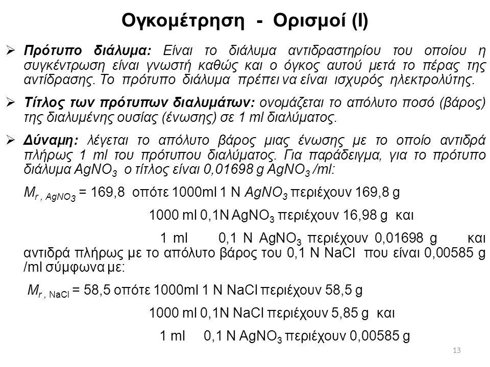 Ογκομέτρηση Ογκομέτρηση ή τιτλοδότηση: Είναι η διαδικασία μέτρησης όγκου διαλύματος αντιδραστηρίου γνωστού τίτλου δηλ. συγκέντρωσης C, που απαιτείται
