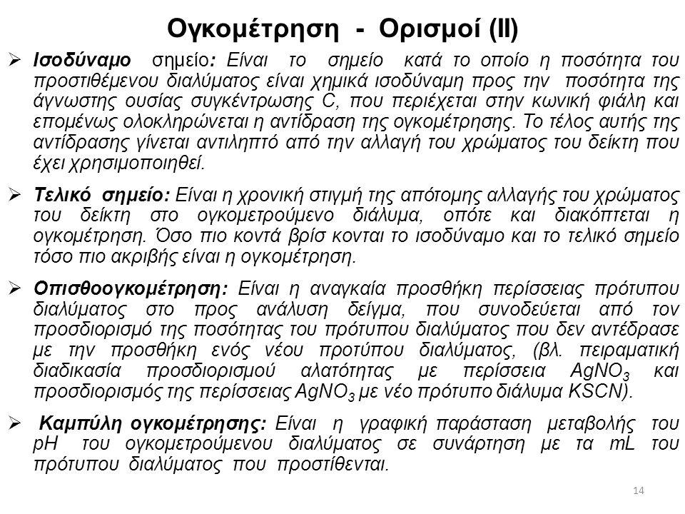 Ογκομέτρηση - Ορισμοί (Ι)  Πρότυπο διάλυμα: Είναι το διάλυμα αντιδραστηρίου του οποίου η συγκέντρωση είναι γνωστή καθώς και ο όγκος αυτού μετά το πέρ