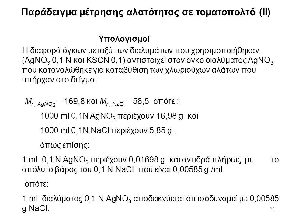 Παράδειγμα μέτρησης αλατότητας σε τοματοπολτό (I) Πειραματική πορεία  Έστω 5,23 g τοματοπολτού, διαλύονται σε αποσταγμένο νερό και μεταφέρονται σε ογ
