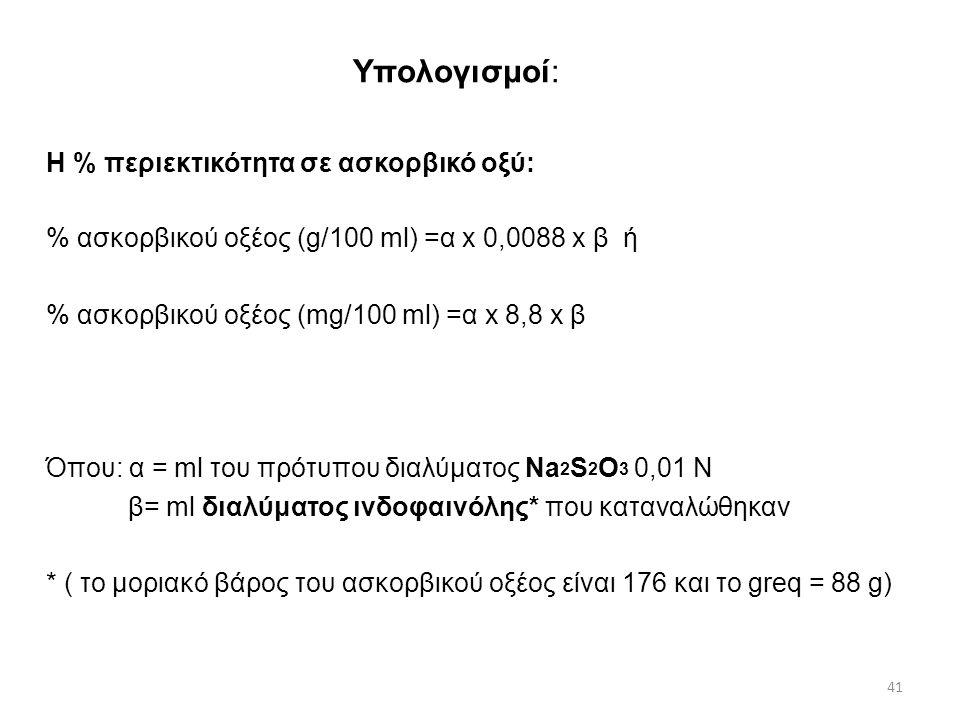 Πειραματικό μέρος Τιτλοδότηση με διάλυμα ινδοφαινόλης (αναγωγή του μπλέ χρώμα της 2,6 διχλωροφαινολινδοφαινόλης από την Βιταμίνη C σε άχρωμο διάλυμα) : Σε κωνική φιάλη προστίθενται με τη σειρά: 10 ml ινδοφαινόλης 5 ml διαλύματος ΚΙ και 10 ml διαλύματος HCl 1 Ν Το περιεχόμενο ηρεμεί επί 2λεπτου και το παραγόμενο Ι 2 ογκομετρείται με πρότυπο διάλυμα Na 2 S 2 O 3 παρουσία δείκτου αμύλου.