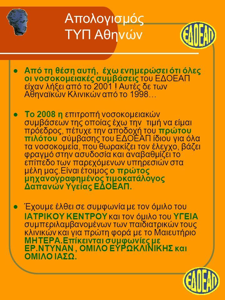 Από τη θέση αυτή, έχω ενημερώσει ότι όλες οι νοσοκομειακές συμβάσεις του ΕΔΟΕΑΠ είχαν λήξει από το 2001 .