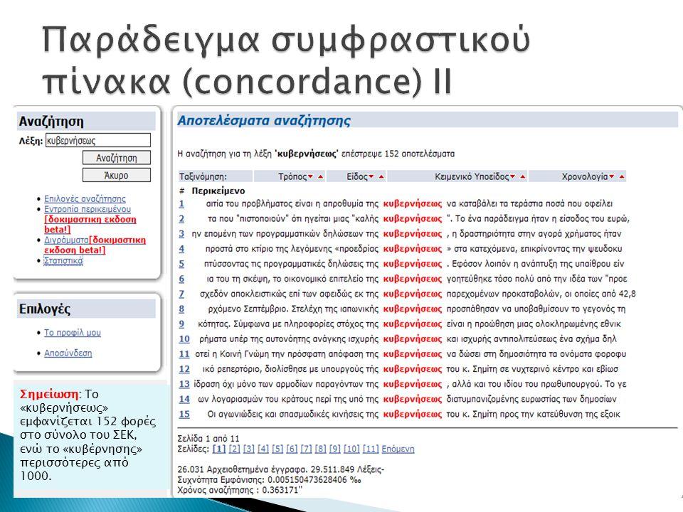 Σημείωση: Το «κυβερνήσεως» εμφανίζεται 152 φορές στο σύνολο του ΣΕΚ, ενώ το «κυβέρνησης» περισσότερες από 1000.