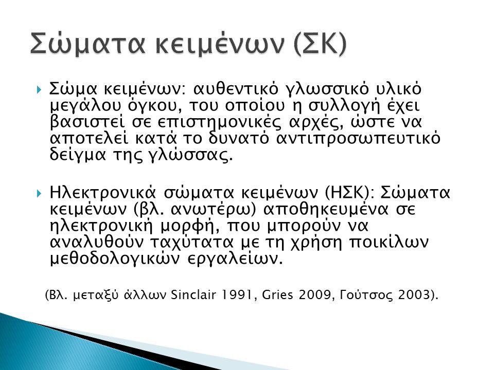  Επεξήγηση χαρακτηριστικών ΗΣΚ: ◦ Αυθεντικό γλωσσικό υλικό (έναντι κατασκευασμένων παραδειγμάτων που βασίζονται στη γλωσσική διαίσθηση του ομιλητή).