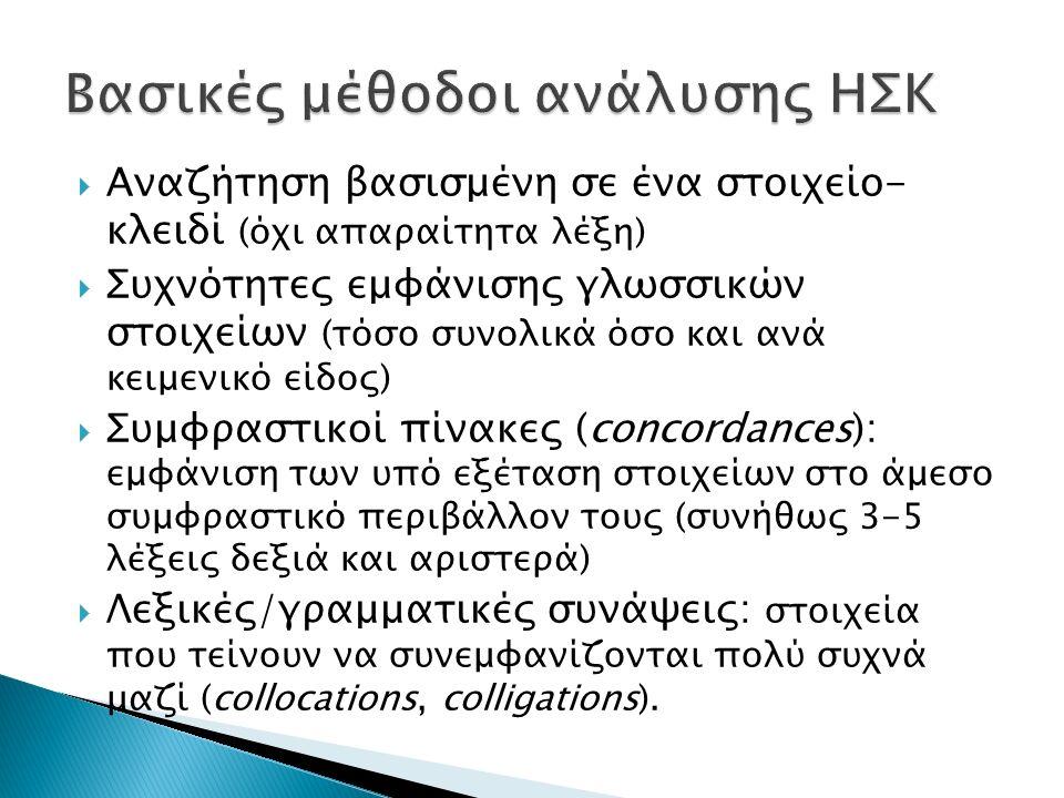  Εθνικός Θησαυρός της Ελληνικής Γλώσσας (ΕΘΕΓ) To Σώμα Κειμένων του Ινστιτούτου Επεξεργασίας Λόγου (ΙΕΛ) Ιστοσελίδα: hnc.ilsp.gr Μέγεθος: ~47.000.000 λέξεις Πρόσβαση κατόπιν συνδρομής Περιλαμβάνει κυρίως ενημερωτικά κείμενα εφημερίδων και άρθρα γνώμης, ενώ τα περισσότερα κείμενα παραμένουν αταξινόμητα (βλ.