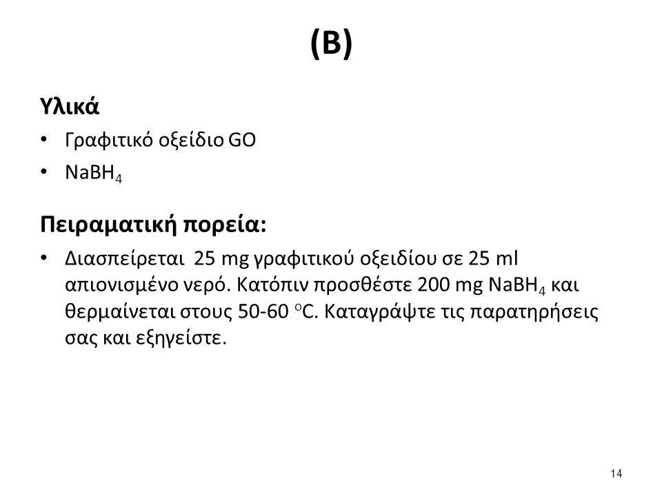 (Β) Υλικά Γραφιτικό οξείδιο GO NaBH 4 Πειραματική πορεία: Διασπείρεται 25 mg γραφιτικού οξειδίου σε 25 ml απιονισμένο νερό.