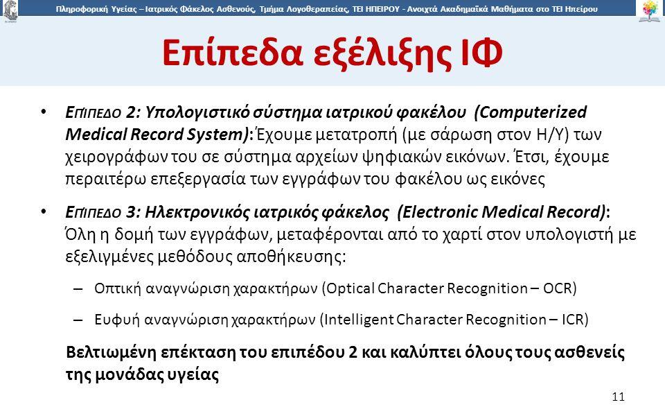 1 Πληροφορική Υγείας – Ιατρικός Φάκελος Ασθενούς, Τμήμα Λογοθεραπείας, ΤΕΙ ΗΠΕΙΡΟΥ - Ανοιχτά Ακαδημαϊκά Μαθήματα στο ΤΕΙ Ηπείρου Eπίπεδα εξέλιξης ΙΦ 11 Ε ΠΊΠΕΔΟ 2: Υπολογιστικό σύστημα ιατρικού φακέλου (Computerized Medical Record System): Έχουμε μετατροπή (με σάρωση στον Η/Υ) των χειρογράφων του σε σύστημα αρχείων ψηφιακών εικόνων.