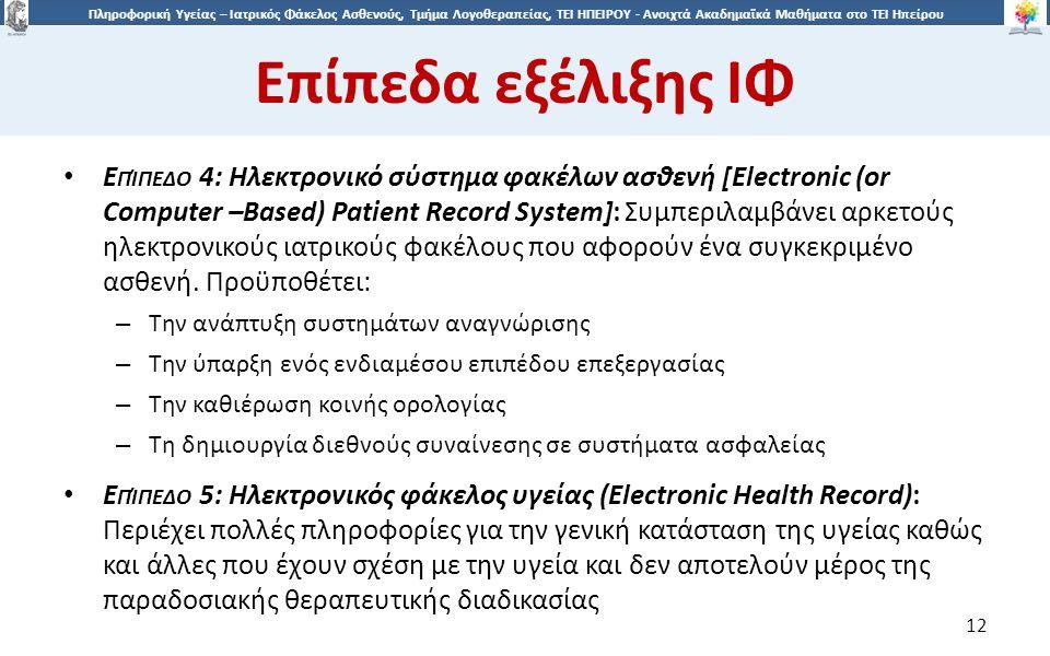 1212 Πληροφορική Υγείας – Ιατρικός Φάκελος Ασθενούς, Τμήμα Λογοθεραπείας, ΤΕΙ ΗΠΕΙΡΟΥ - Ανοιχτά Ακαδημαϊκά Μαθήματα στο ΤΕΙ Ηπείρου Eπίπεδα εξέλιξης ΙΦ 12 Ε ΠΊΠΕΔΟ 4: Ηλεκτρονικό σύστημα φακέλων ασθενή [Electronic (or Computer –Based) Patient Record System]: Συμπεριλαμβάνει αρκετούς ηλεκτρονικούς ιατρικούς φακέλους που αφορούν ένα συγκεκριμένο ασθενή.