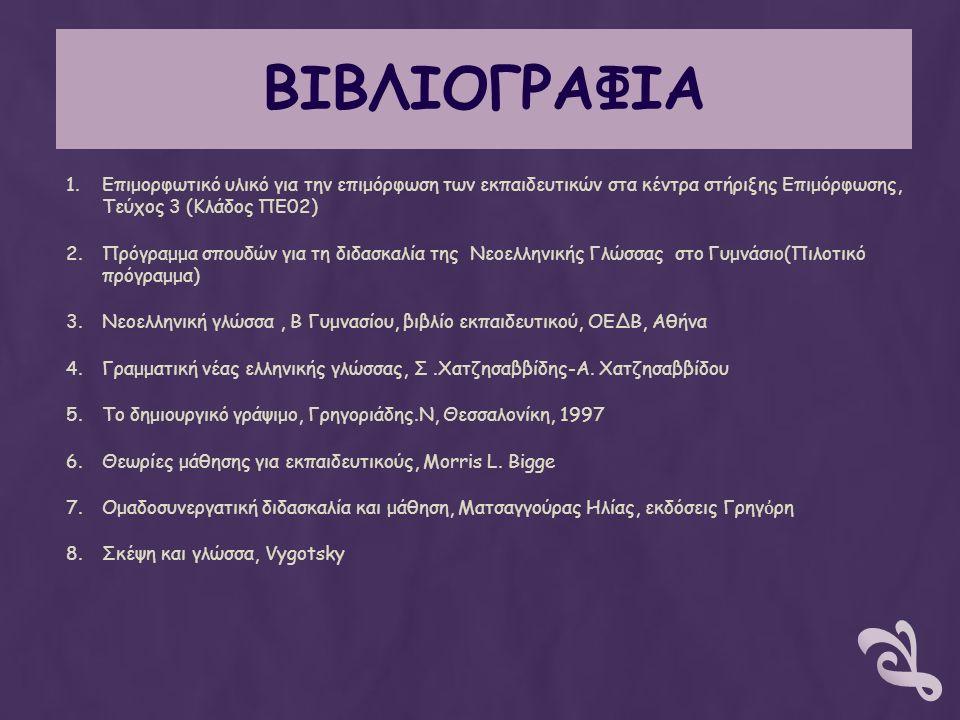 ΒΙΒΛΙΟΓΡΑΦΙΑ 1.Επιμορφωτικό υλικό για την επιμόρφωση των εκπαιδευτικών στα κέντρα στήριξης Επιμόρφωσης, Τεύχος 3 (Κλάδος ΠΕ02) 2.Πρόγραμμα σπουδών για τη διδασκαλία της Νεοελληνικής Γλώσσας στο Γυμνάσιο(Πιλοτικό πρόγραμμα) 3.Νεοελληνική γλώσσα, Β Γυμνασίου, βιβλίο εκπαιδευτικού, ΟΕΔΒ, Αθήνα 4.Γραμματική νέας ελληνικής γλώσσας, Σ.Χατζησαββίδης-Α.