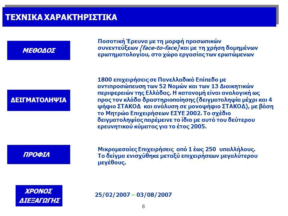 7 ΣΤΑΘΜΙΣΗ Τα στοιχεία της παρούσας έρευνας σταθμίστηκαν εκ των υστέρων με βάση τα πλέον πρόσφατα στοιχεία του Μητρώου της ΕΣΥΕ (2002).