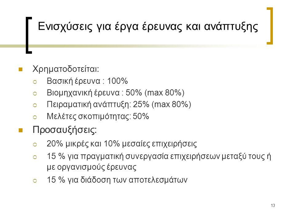 Ενισχύσεις για έργα έρευνας και ανάπτυξης Χρηματοδοτείται:  Βασική έρευνα : 100%  Βιομηχανική έρευνα : 50% (max 80%)  Πειραματική ανάπτυξη: 25% (max 80%)  Μελέτες σκοπιμότητας: 50% Προσαυξήσεις:  20% μικρές και 10% μεσαίες επιχειρήσεις  15 % για πραγματική συνεργασία επιχειρήσεων μεταξύ τους ή με οργανισμούς έρευνας  15 % για διάδοση των αποτελεσμάτων 13